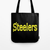 steelers Tote Bags featuring Steelers - #1 by Judy Palkimas