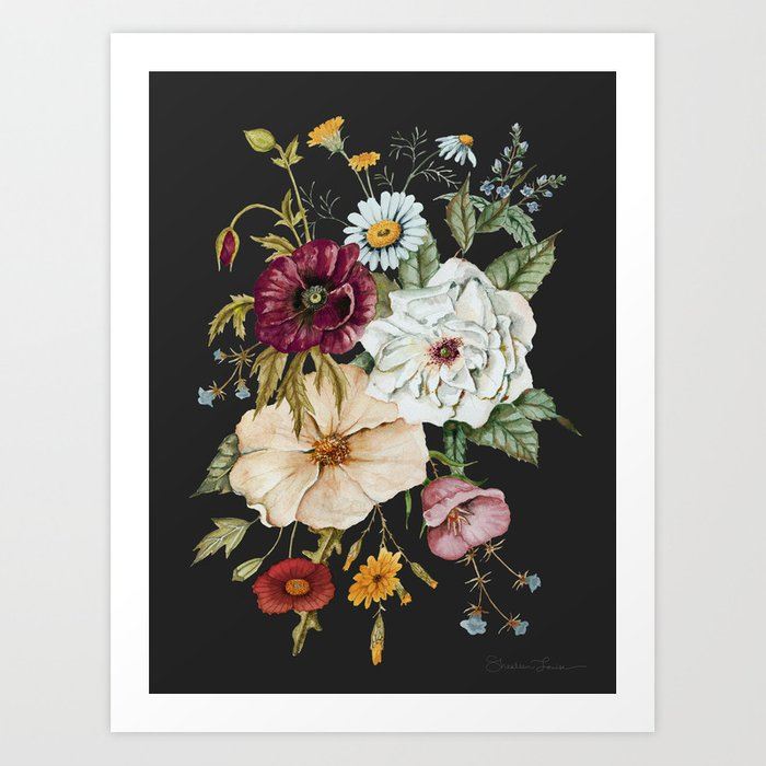 Colorful Wildflower Bouquet on Charcoal Black Art Print