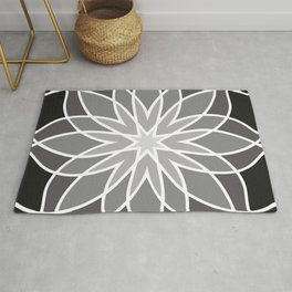 Shades of Grey | Abstract Flowers | Geometric Pattern | Black, Gray and White | Rug