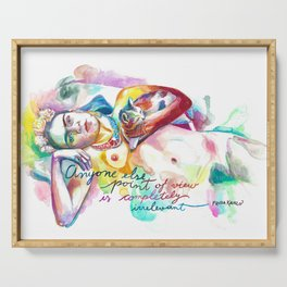 FRIDA KAHLO with cat - Watercolor portrait Serving Tray