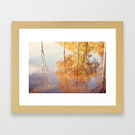 Autumn Trees Reflection Photography, Fall Tree Nature Orange Gold Yellow Purple, Water Reflections Framed Art Print