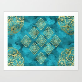 Teal Swirls and Gold Oriental Designs Art Print