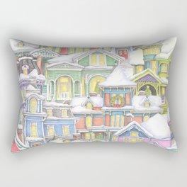 Victorian Snow Houses Rectangular Pillow