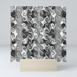 Black White Seamless Wave Spiral Abstract Pattern Mini Art Print