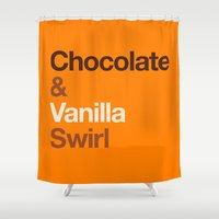 oitnb Shower Curtains featuring Chocolate & Vanilla Swirl OITNB by Maria Giorgi