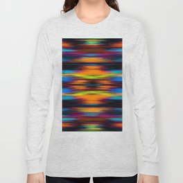 vintage psychedelic geometric abstract pattern in orange brown blue yellow Long Sleeve T-shirt