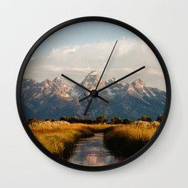 Grand Teton National Park at Sunrise Wall Clock