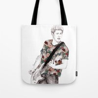 niall Tote Bags featuring Floral Niall by Coconut Wishes
