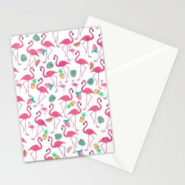 Tropical pink watercolor flamingo sweet summer fruit pattern Stationery Cards