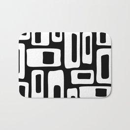 Retro Mid Century Modern Abstract Pattern 335 Black and White Bath Mat