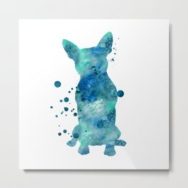 Boston Terrier Dog Watercolor Painting Blue Turquoise Aqua Mint Metal Print