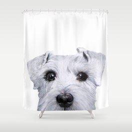 Schnauzer White Dog original painting print Shower Curtain