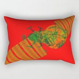 Explorer Schematic Warped Green on Red Rectangular Pillow