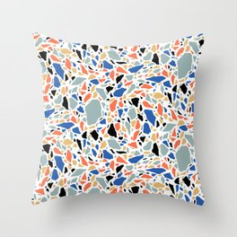 Terrazzo pattern in blue and salmon Throw Pillow