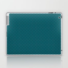 Houndstooth Black & Teal small Laptop & iPad Skin