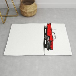 Red 1950s American Sports Car Rug
