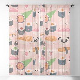 Kawaii sushi light pink Sheer Curtain