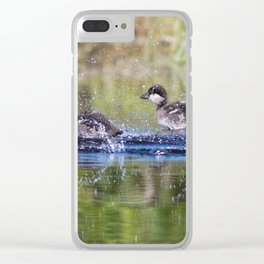 Wood Duck Chicks Clear iPhone Case