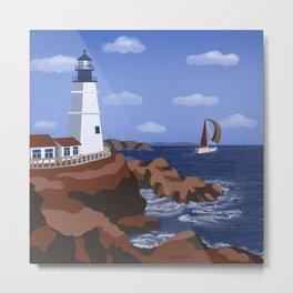 Lighthouse 4 - nautical minimal artwork Metal Print