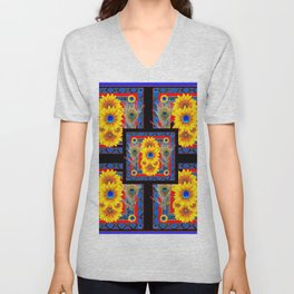 BLUE PEACOCK JEWELED SUNFLOWERS DECO ABSTRACT Unisex V-Neck