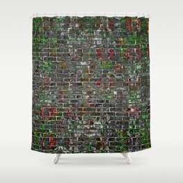 Grunge Wall Of Mould And Green Shower Curtain