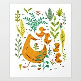 Duck Family Art Print