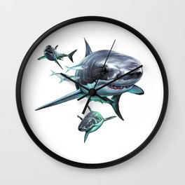 Great White Sharks Wall Clock