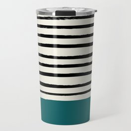 Dark Turquoise & Stripes Travel Mug