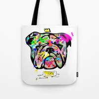 bulldog Tote Bags featuring Bulldog by morganPASLIER