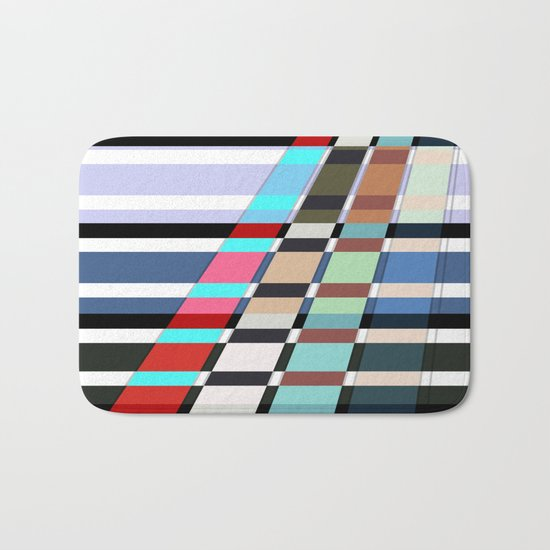 Colorful oblique lines . Abstract pattern 2 . Bath Mat