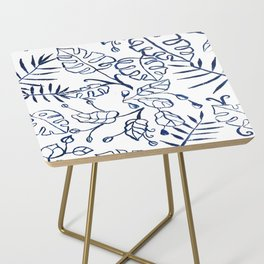 Tropical Plant Boho Chinoiserie Blue and White Side Table