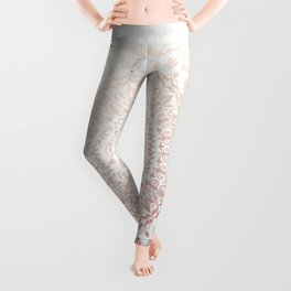 Rose gold mandala and grey marble Leggings
