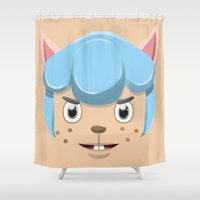 animal crossing Shower Curtains featuring Animal Crossing Cyrus by ZiggyPasta