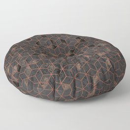 Copper Gold and Black Hexagons Geometric Pattern Floor Pillow