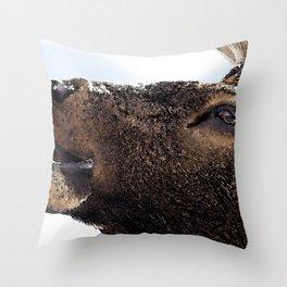 Watercolor Bull Elk Greeting Throw Pillow