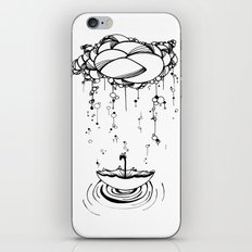 Abstract Whimsical illustration, Rain, cloud, umbrella, Black and white, pen and ink iPhone & iPod Skin