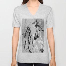 HORSE BLACK AND WHITE Unisex V-Neck