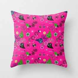 Cycledelic Pink Throw Pillow