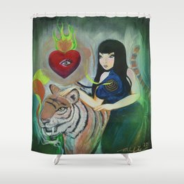 """""""5: Kiss Like Painted Tigers but We Bleed Like No One Does"""" Shower Curtain"""