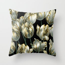 Winter Tulips in Gold. Throw Pillow
