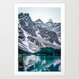 Paddling on Moraine Lake Art Print