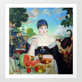 Merchant's Wife At Tea Boris Kustodiev Art Print