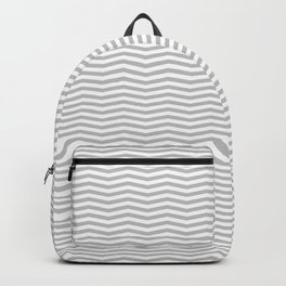 Silver and White Christmas Wavy Chevron Stripes Backpack