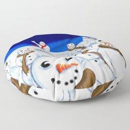 Snowmen Gathering Floor Pillow