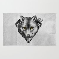 bad wolf Area & Throw Rugs featuring The Bad Wolf by Fla'Fla'