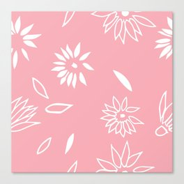 Powder Pink Floral Shapes 2 Canvas Print