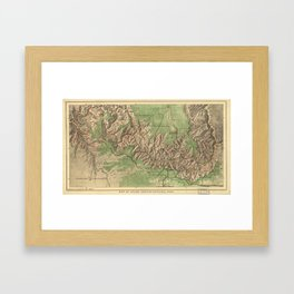 Vintage Map of The Grand Canyon (1926) Framed Art Print