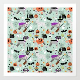 Schnauzer dog breed halloween costumes cute dog gift for fall autumn Art Print