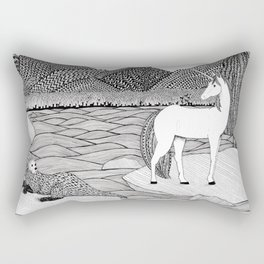 A Meeting by the Water--B&W Rectangular Pillow