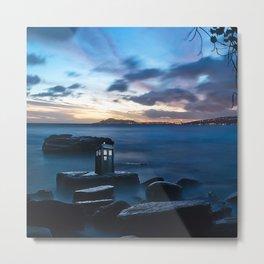 Tardis On The Sea Stone Metal Print